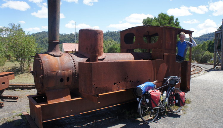 Rusty old wreck... and a train